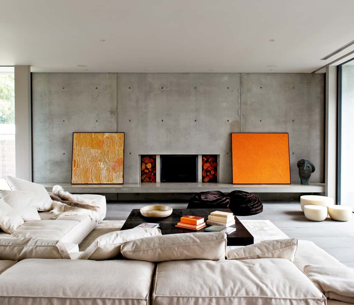 A palette of exposed concrete, honed basalt & hand hewn timber