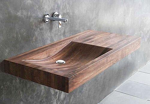 Wooden wall-hung washbasin